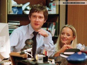 Martin Freeman and Lucy Davis in 'The Office'