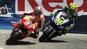 Marquez vs Rossi at Laguna. Photo credit BBC